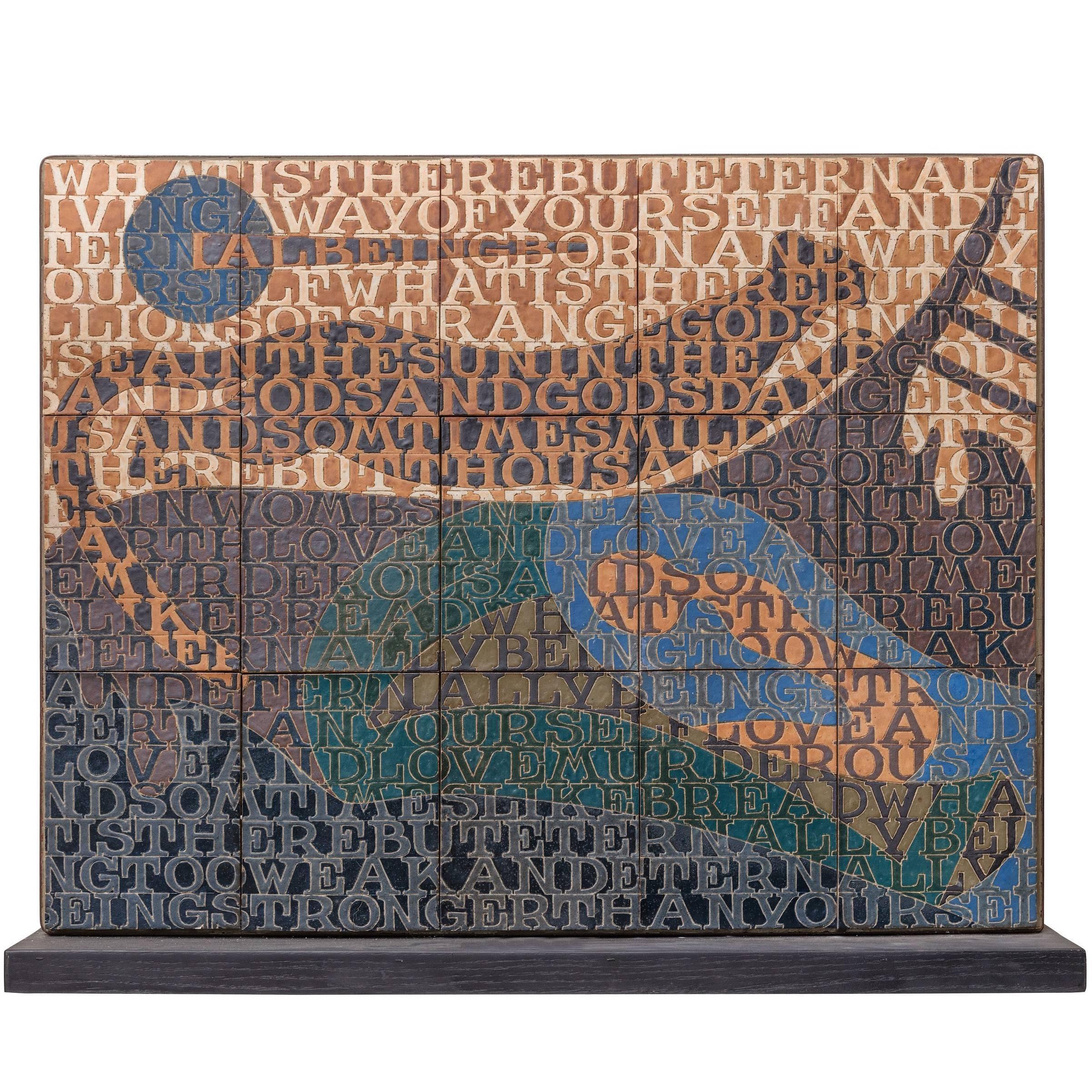 Bo Kristiansen Stoneware Tile Wall Relief, Denmark, 1980s