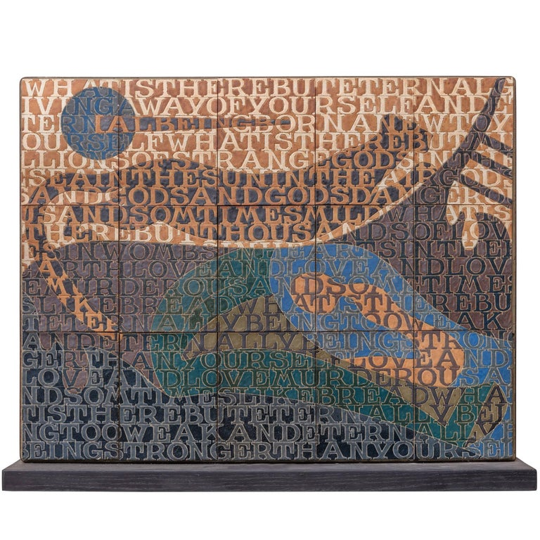 Bo Kristiansen Stoneware Tile Wall Relief, Denmark, 1980s For Sale