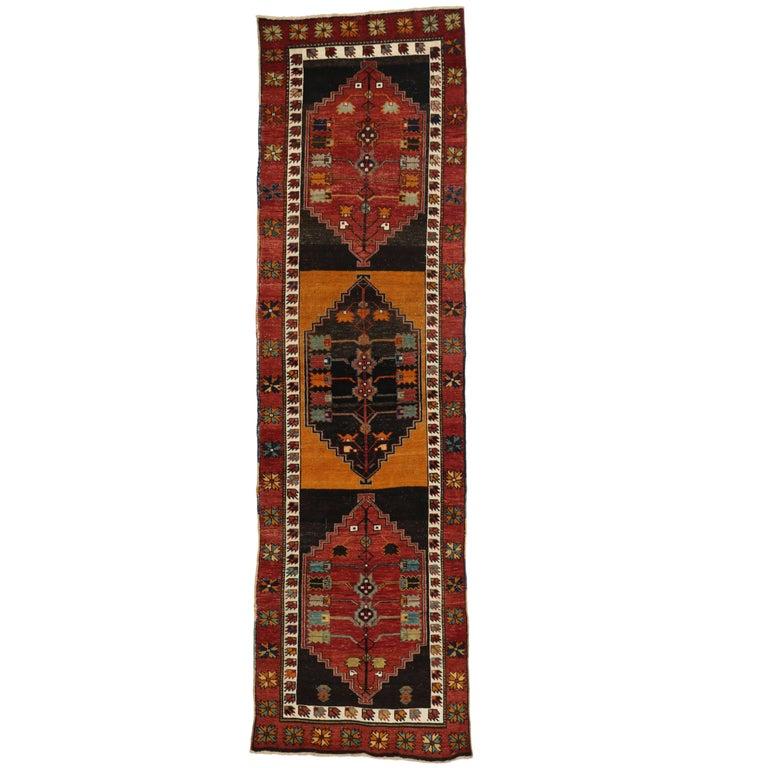 Vintage Turkish Oushak Runner with Modern Tribal Style, Hallway Runner