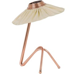Freevolle sculpture Table Lamp, Copper finish champagne Silk Taffeta Handmade