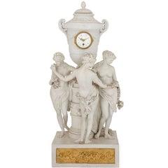 Antique Bisque Porcelain Mantel Clock of the Three Graces