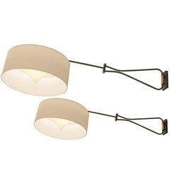 Pair of Adjustable and Foldable Wall Lights Arlus France, circa 1950