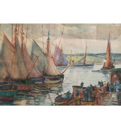 Palmer Cole Hayden (1893-1973) Concarneau Boats by the Sea Pier Drawing