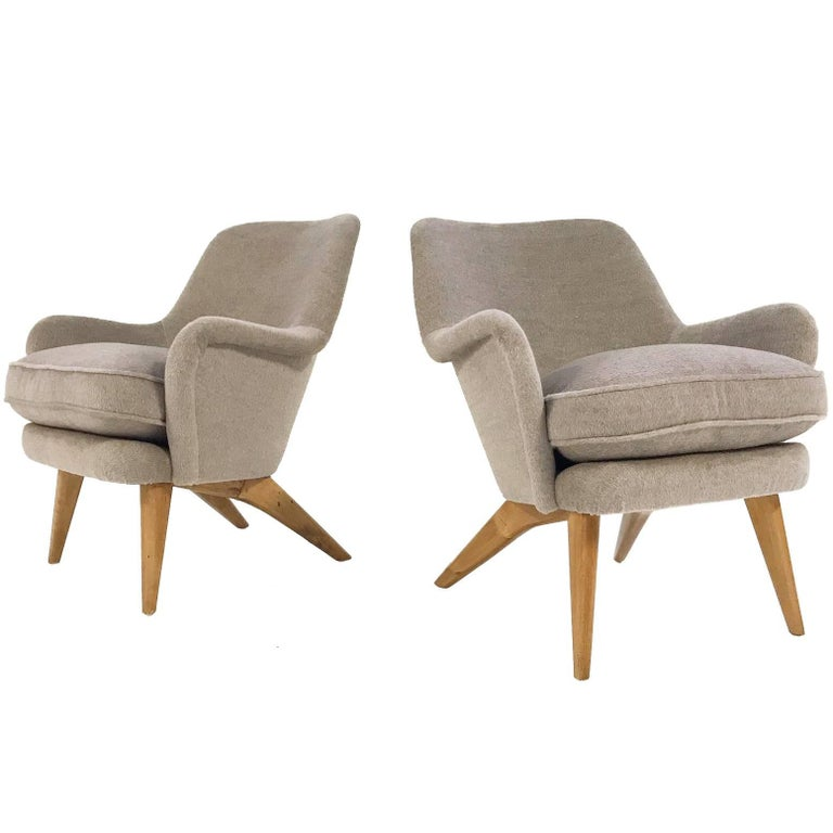 Pedro Armchairs by Carl-Gustav Hiort Af Ornas Restored in Loro Piana Alpaca