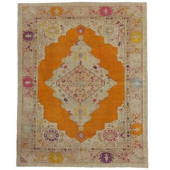 Vintage Turkish Oushak Rug with Modern Contemporary Style