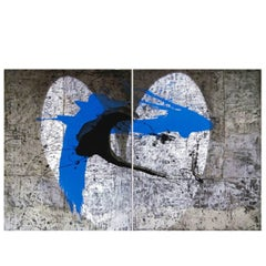 """Pascal Bost """"Tache Bleue"""" Large Abstract Painting"""