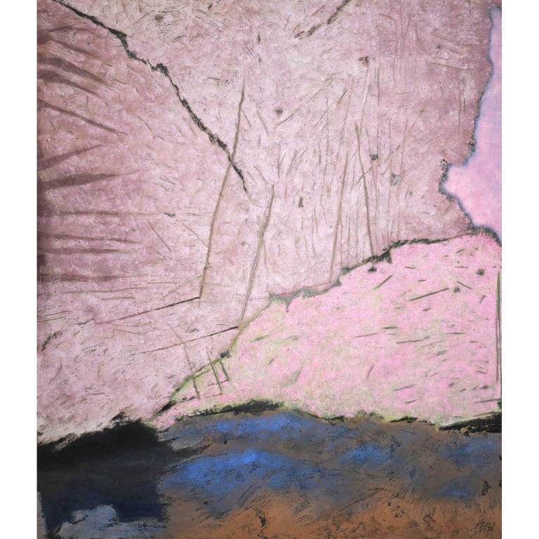 """Pascal Bost """"Vieux Rose"""" Large Abstract Pigment Painting"""