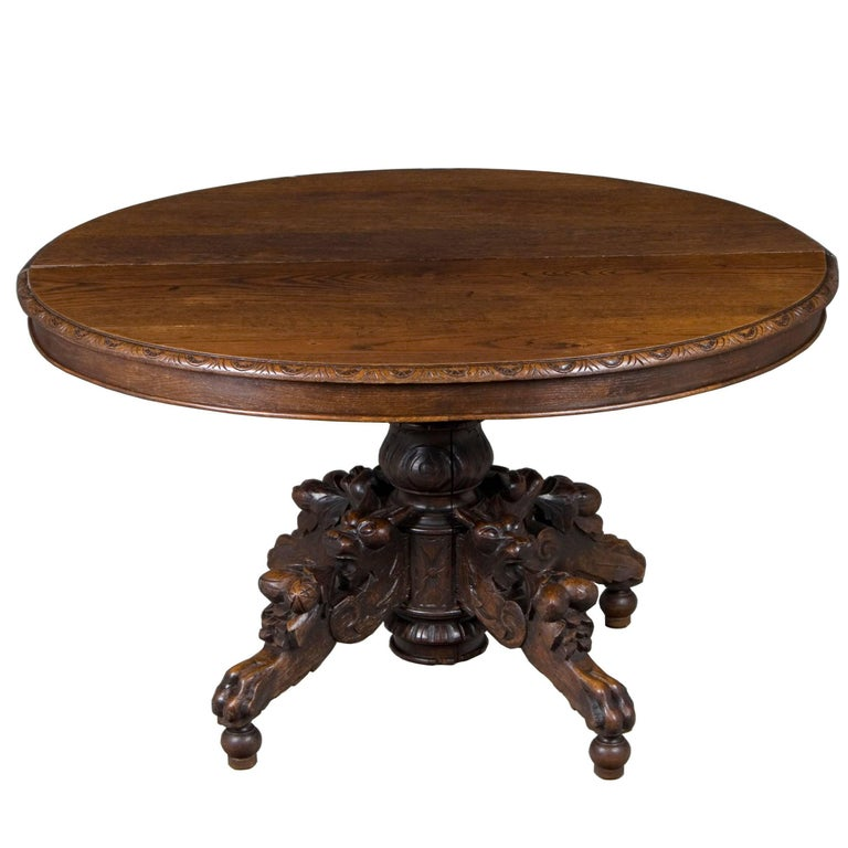 Antique Carved Oak Fox Head Oval Table At 1stdibs