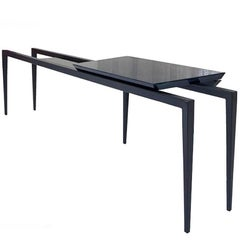 Nayd Desk with Black Glass Top Surface