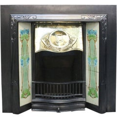 Reclaimed Edwardian Art Nouveau Cast Iron Fireplace Grate