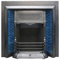 Reclaimed Late Victorian Cast Iron and Tiled Fireplace Grate