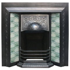 Antique late Victorian Cast Iron and Tiled Fireplace Grate
