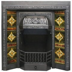 19th Century late Victorian Cast Iron and Tiled Fire Insert