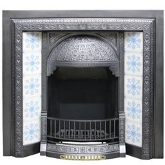 Large Antique Victorian Cast Iron and Tiled Fireplace Insert