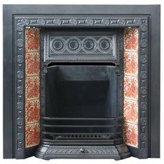 19th Century Victorian Cast Iron and Tiled Fireplace Grate
