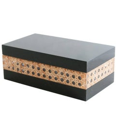 Midcentury Black Lucite and Cane Box Attributed to Christian Dior Home, 1970s