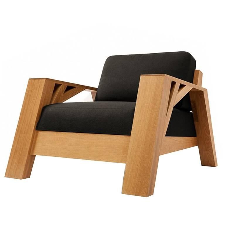 Contemporary Club Carpenter Armchair in Oak or Walnut by Olivier Dollé