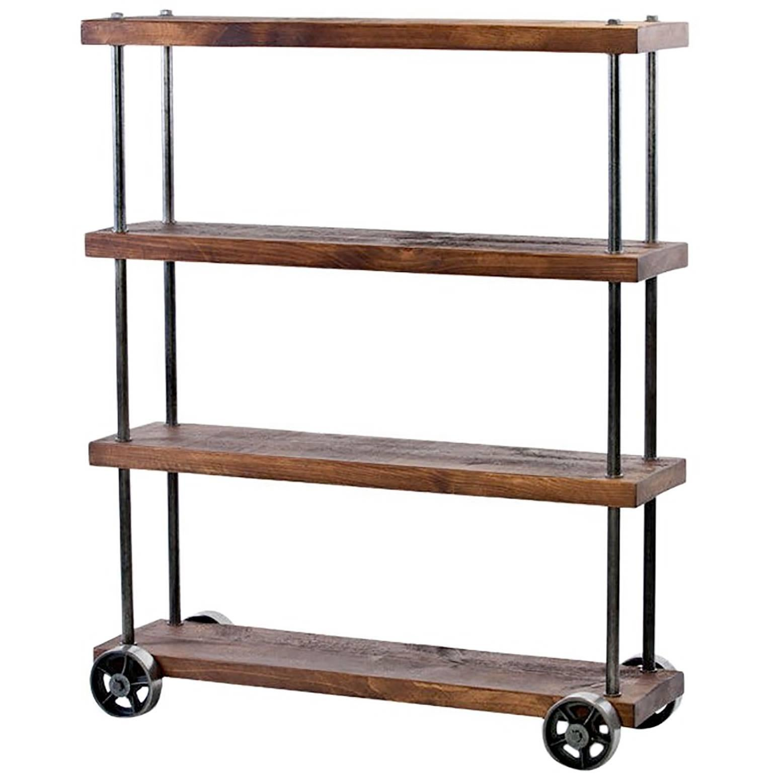Industrial Rolling Cart Wood And Steel, Iron Storage Shelving On Castors  For Sale