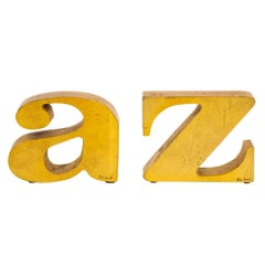 C. Jere Bookends 'A to Z' Gold Leaf Gilt Cast Iron Signed USA, 1970s