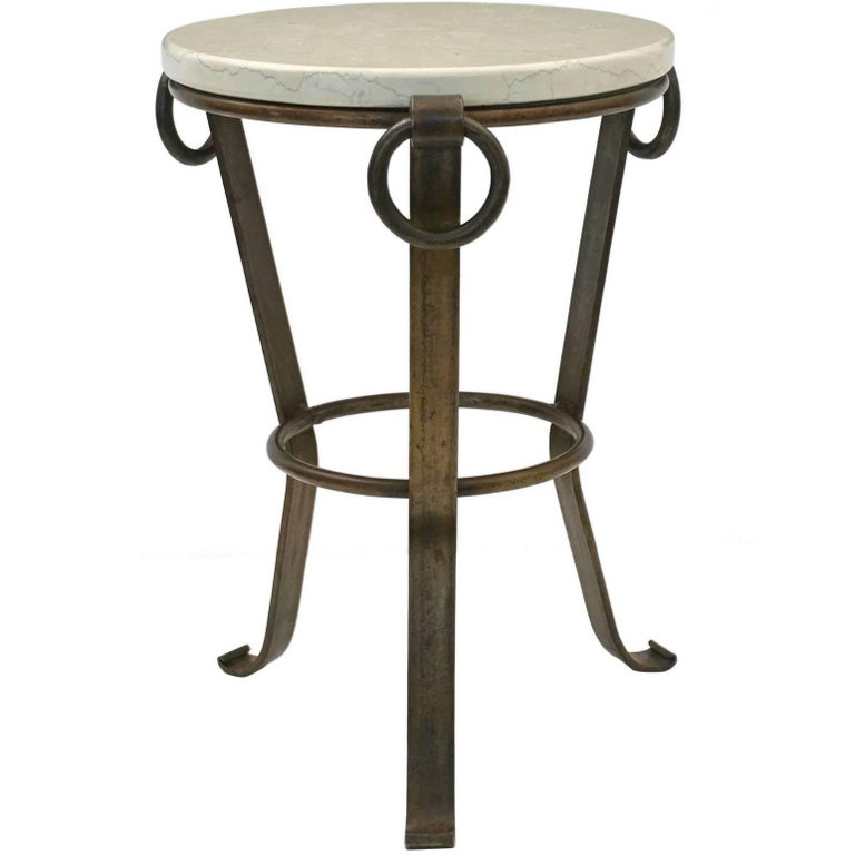 Small, Circular Iron Side or Drinks Table with Iron Rings and White Marble Top