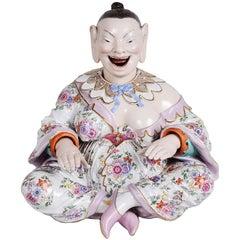 Large 19th Century Meissen Porcelain Nodding Buddha