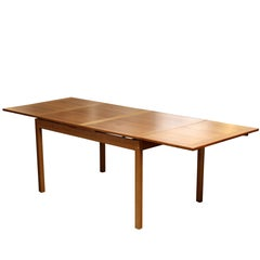 Mid-Century Modern Ansager Mobler Expandable Teak Dining Table Danish, 1950s