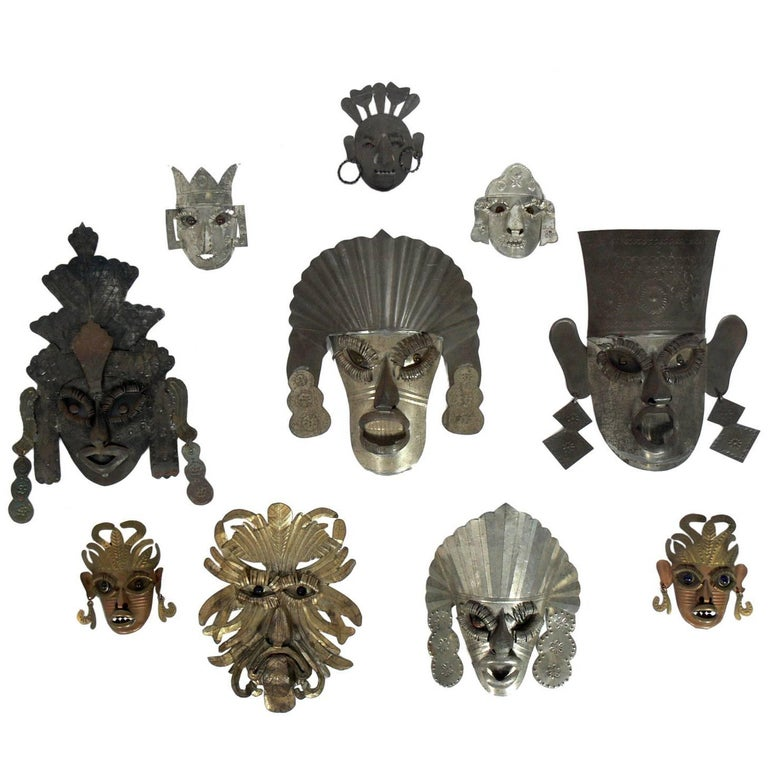 Collection of Handmade Mexican Folk Art Masks