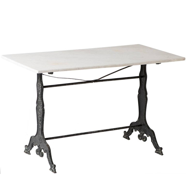 French Marble Topped Bistro Table With Art Nouveau Base, circa 1920 For Sale