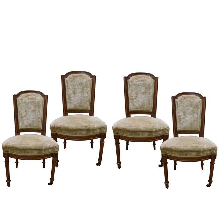 Set of Four 19th Century Walnut Louis XVI Style Chairs