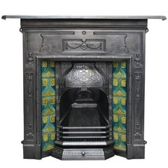 Antique Edwardian Cast Iron and Tiled Combination Grate