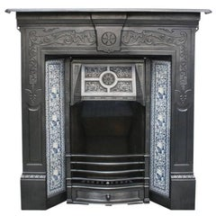 Antique Edwardian Art Nouveau Combination Fireplace