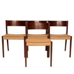 Set of Four Teak and Papercord Pia Dining Chairs by Poul Cadovius
