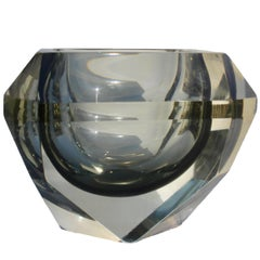 Large Murano Sommerso Faceted Smoky Grey Vase by Mandruzzato, circa 1959s