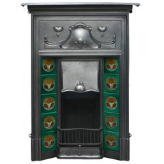 Reclaimed Edwardian Art Nouveau Cast Iron Combination Fireplace