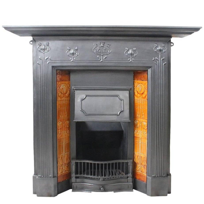 antique edwardian art nouveau cast iron and tiled grate for sale at