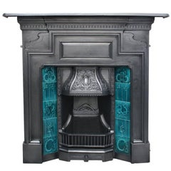 Large antique Edwardian Cast Iron Combination Fireplace
