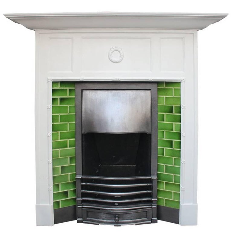 Antique Edwardian Painted Cast Iron and Tiled Fireplace