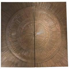 "1960s Forms & Surfaces Bonded Bronze ""Heroic Sunburst"" Architectural Panels"