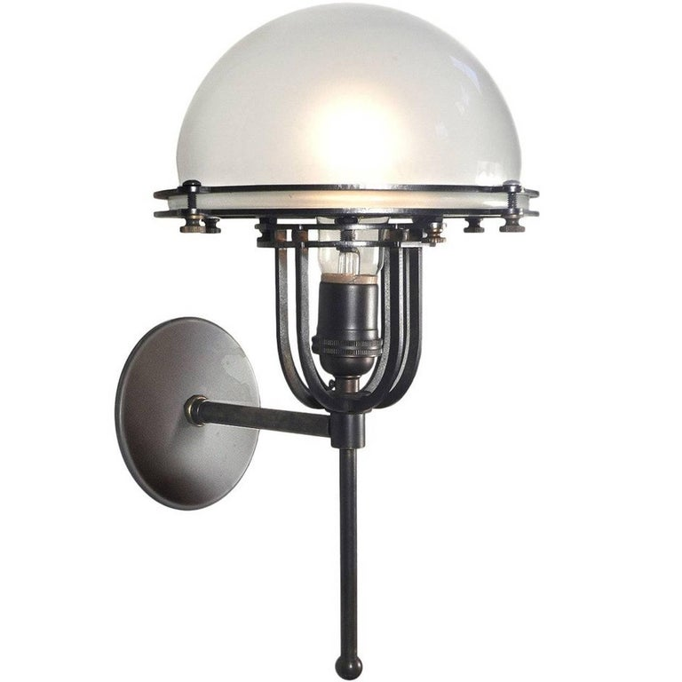 Machine Age Frosted Dome Sconce For Sale