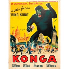 Large Original Vintage Movie Poster for the Science Fiction Horror Film Konga