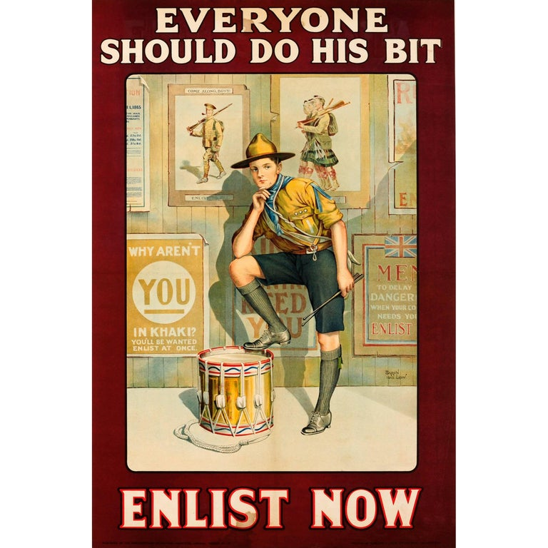 Original British WWI Recruitment Poster - Everyone Should Do His Bit Enlist Now