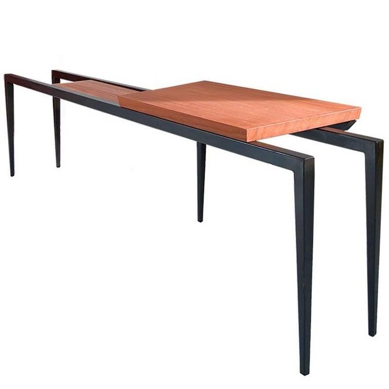 Nayd Desk, African Padauk Wooden Top