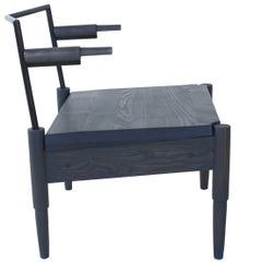 Camber, Solid Wood and Blackened Steel Lounge Chair