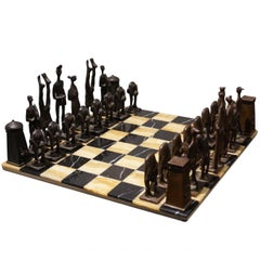 Unique Brutalist Bronze Chess Set, The Netherlands, 1978