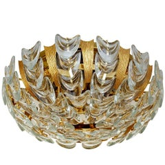 Very Rare and Beautiful Gold-Plated Chandelier Flush Mount by Palwa, 1960s