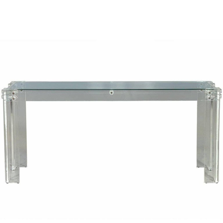 Modern Acrylic and Glass Designer Console Hall Table Sideboard