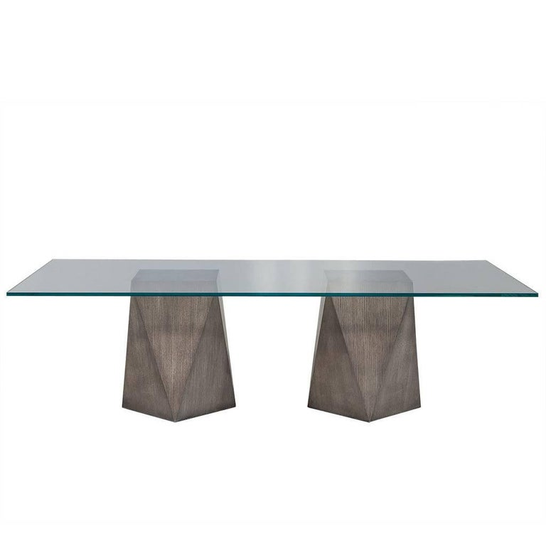 Custom Glass Top With Geometric Pedestal Dining Table For Sale At