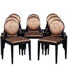 Set of Eight Carrocel Custom Deco Inspired Arrondi Dining Chairs