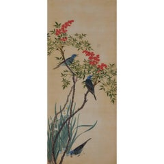 19th Century Japanese Bird and Flower Painting, Bulbuls and Nandina