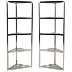 Pair of Corner Polished Stainless Steel Etegeres